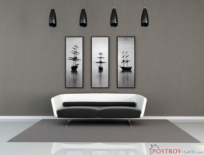 Черно-белые картины в интерьере фото
