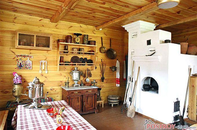 Отделка стен доской в кухне