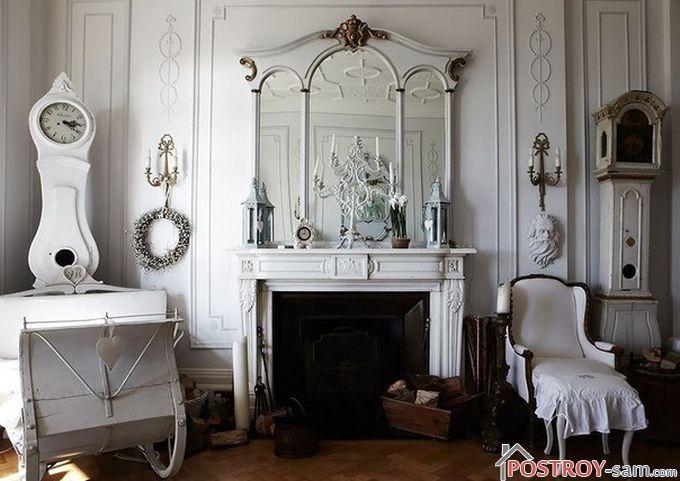 Зеркала и освещение в стиле шебби шик