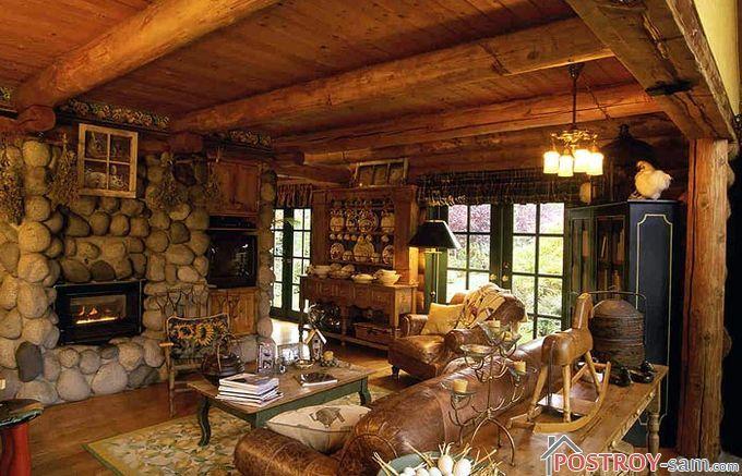 Интерьере гостиной в экостиле