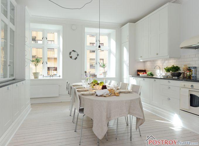 >Потолок на кухне в скандинавском стиле