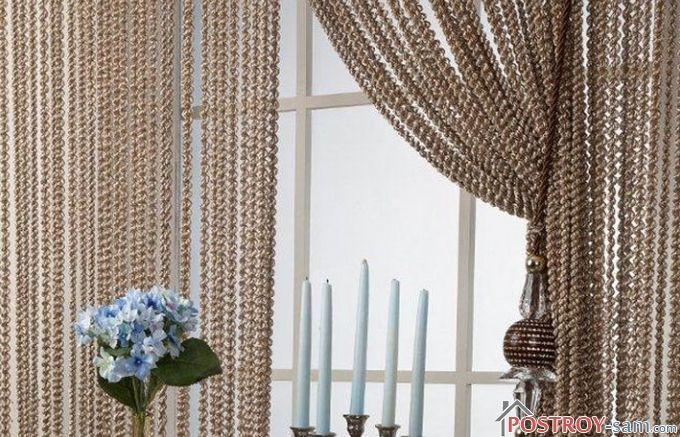 Нитяные шторы в спальне фото