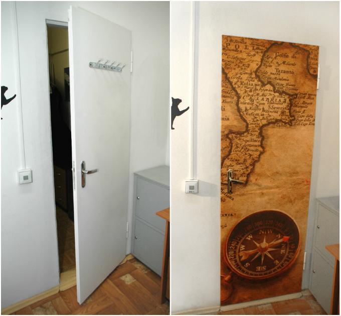 Как правильно клеить обои на дверь?
