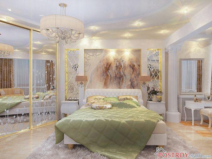 Многоуровневый потолок в спальне с подсветкой