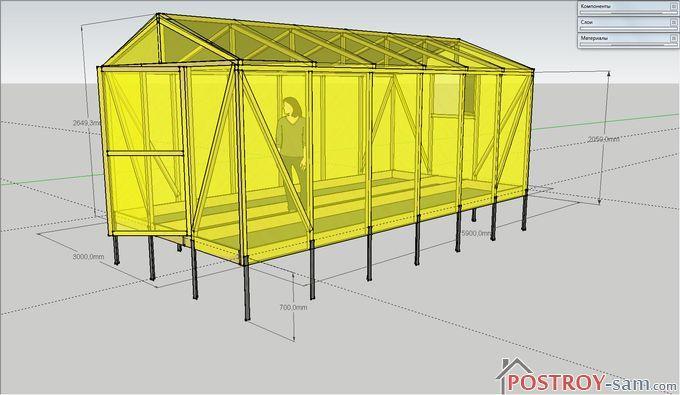 Проект теплицы из бруска 50х50 мм