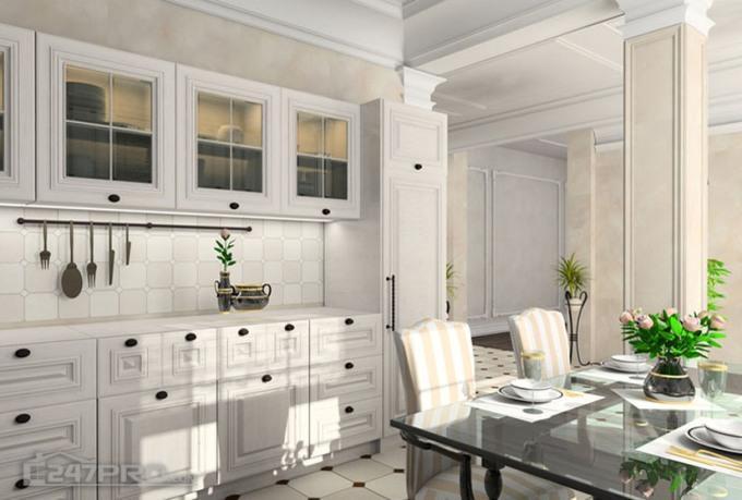 Достоинства и недостатки кухни в белых цветах