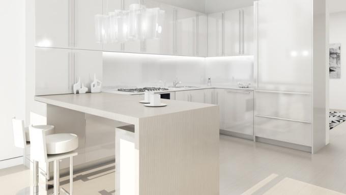 Белые глянцевые фасады кухни