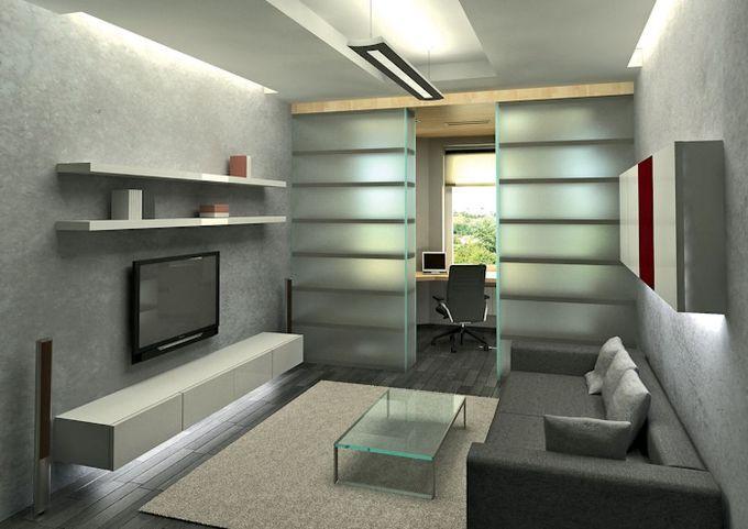 Настенный телевизор в комнате 18 кв.м