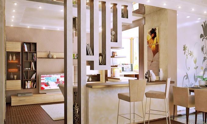 Разделение столовой зоны и зоны отдыха с помощью декоративной перегородки