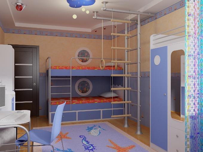Как оформить детскую комнату с двухъярусной кроватью