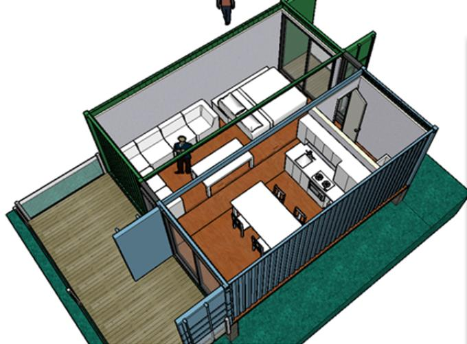 Проект дома из сдвоенных контейнеров