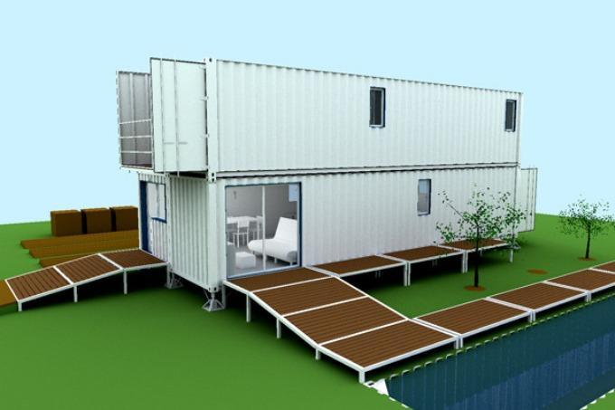 Двухэтажный вариант дачного дома из контейнеров