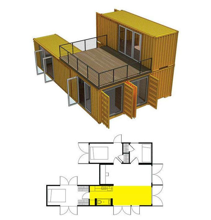 Проект дома из нескольких контейнеров