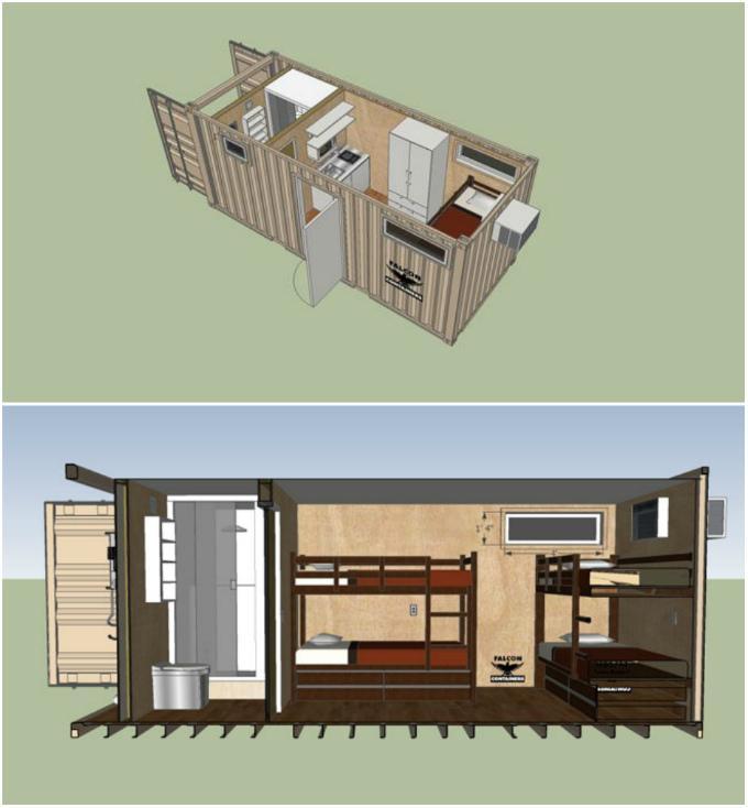 Проекты дома из 1 высокого 40 футового контейнера