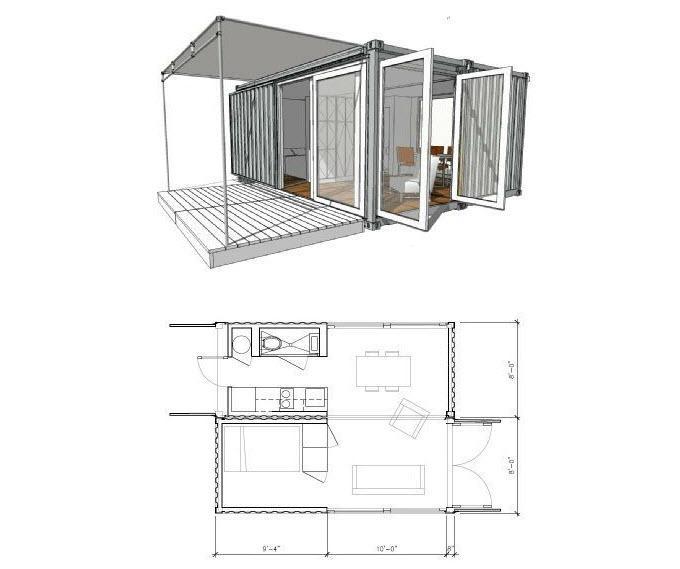 Дом из двух контейнеров проект