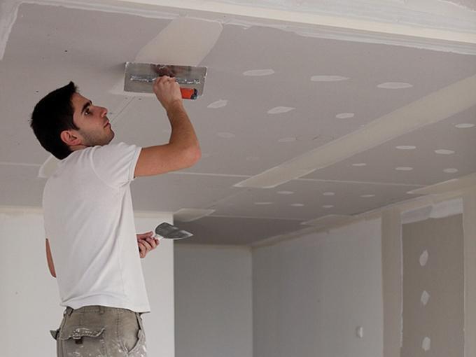 Шпаклёвка потолка из гипсокартона