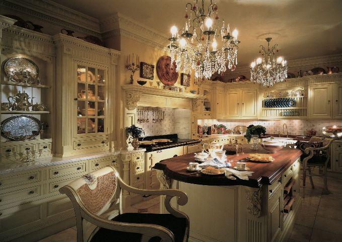 Освещение на кухне в  английском стиле