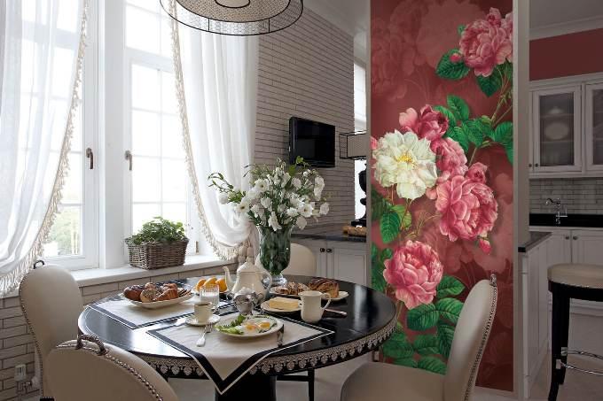Фотообои на кухне с цветами