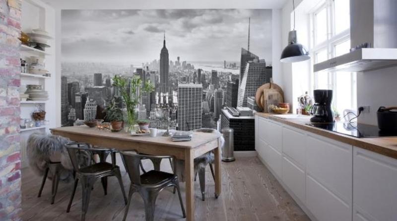 Фотообои на кухню: фото интерьеров и правила выбора