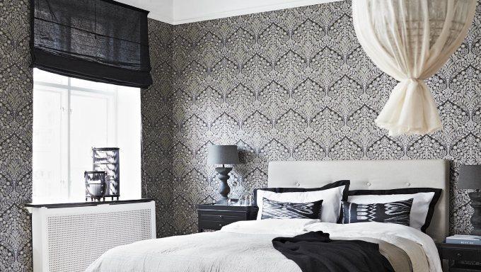 Черно-белый орнамент в интерьере спальни
