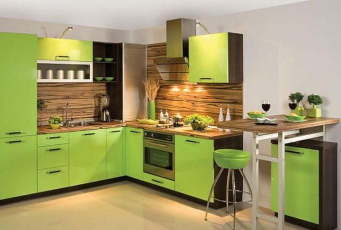 Зеленая палитра в интерьере кухни