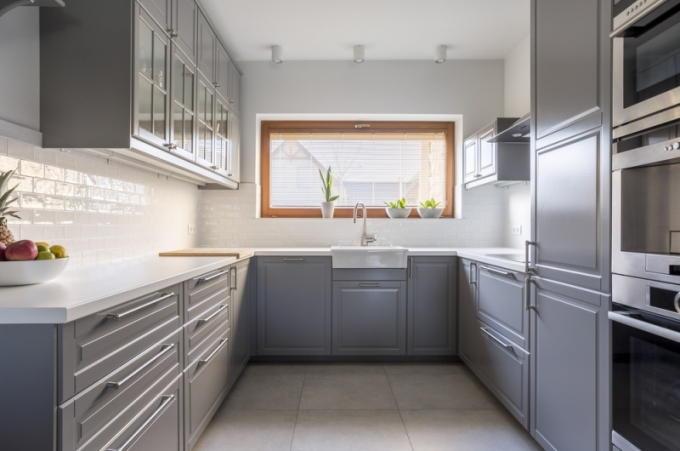 Ахроматитеский интерьер кухни