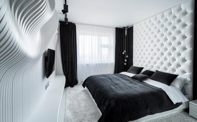черно-белый цвет в интерьере спальни