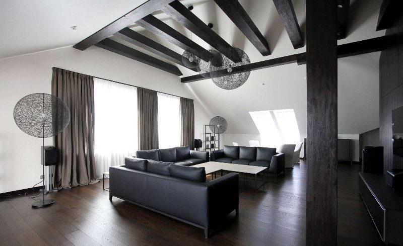 Интерьер гостиной в черном и белом цвете