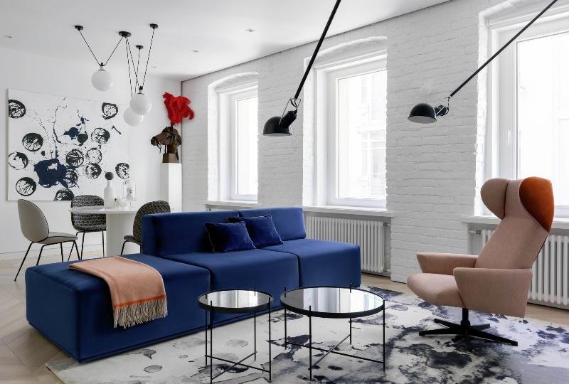 Мебель в черно-белом интерьере