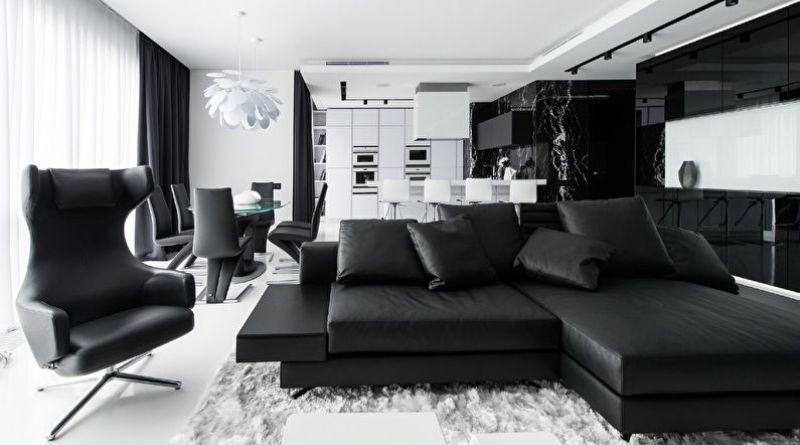 Черно-белый цвет в интерьере