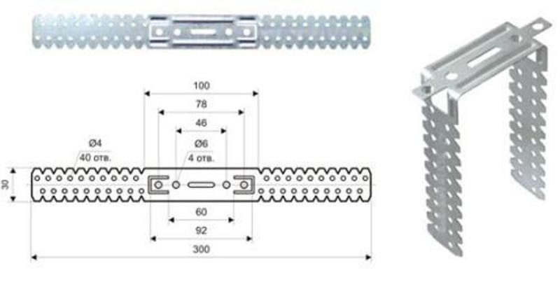 Прямые подвесы для гипсокартона - размеры