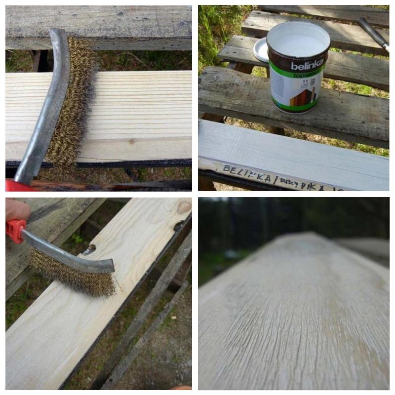 Третий способ состарить древесину — обработка щеткой и белой глазурью