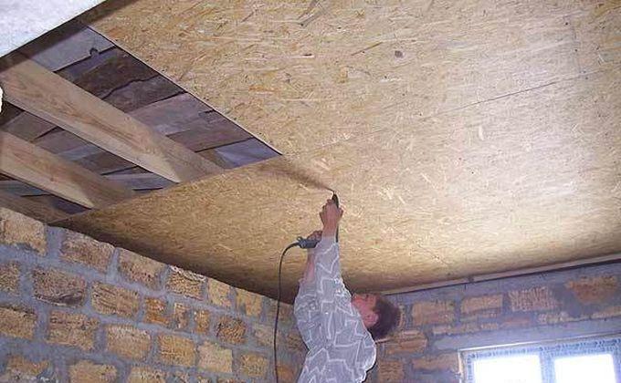 как прикрутить осб плиту к потолку