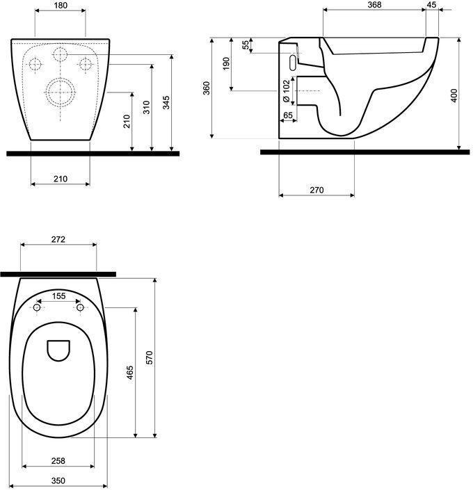 Геометрические размеры подвесных унитазов