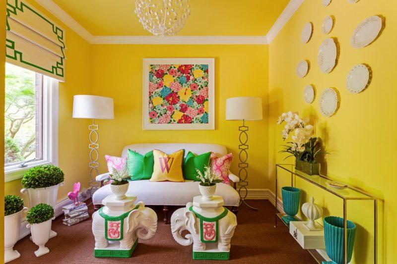 С какими цветами сочетается желтый цвет в интерьере?